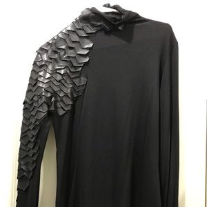 Black mock neck Raven top